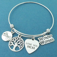 LOVE YOU MOM, Wonder Woman, Pinky, Promise, Family, Tree, Silver, Bangle, Bracelet, Love, Mom, Mother, Gift, Jewelry