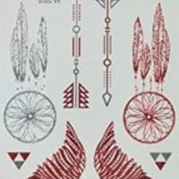 GRASHINE Red and silver Metallic fake and realistic temporary tattoos Jewelry design, feathers and wings