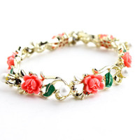 Vintage Floral Pearl Bracelet -  Gold Tone 1960s Green Enamel & Lucite Costume Jewelry / Pink Flowers