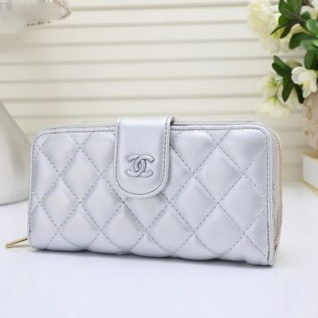 CHANEL Zipper and Buckle convenience Women Leather Purse Wallet H-YJBD-2H