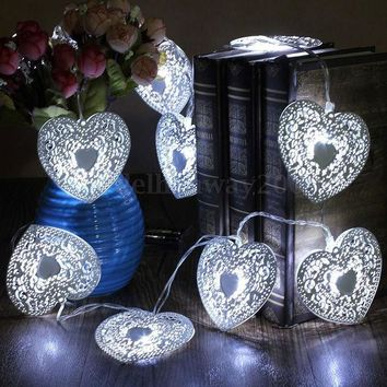 CREYET7 10 LED heart shape Cool White Metal Love Heart Wedding Party  Festival Halloween String Fairy Light  Indoor Outdoor Decor Metal