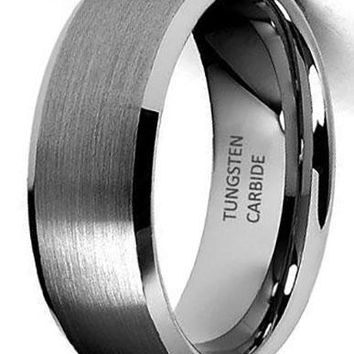 CERTIFIED 8mm Beveled Edge Tungsten Wedding Band