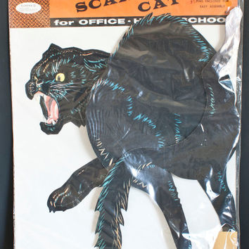 Large Vintage Halloween Paper Cat, Eureka Company, Die Cut 24 Inch Scary Cat, Jointed Halloween Black Cat, NIB