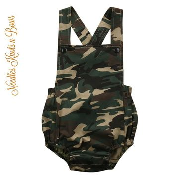 Baby Boys Camouflage Romper, Boys Camouflage Outfit, Camo Romper for Boys, Military Coming Home & Leave Outfit