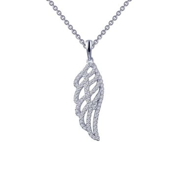 Lafonn Classic Sterling Silver Platinum Plated Lassire Simulated Diamond Necklace (0.76 CTTW)