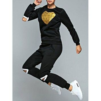Heart Sweatshirt and Cut Out Jogger Pants - Black L