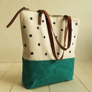 Large zippered Waxed Canvas Tote hand painted dotted canvas Brown Leather Straps Handmade Shoulder Tote Bag Turquoise