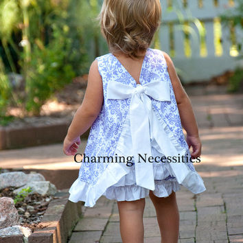 Baby Girl Open Back Pinafore Dress with Ruffled Bloomer Diaper Cover by Charming Necessities Infant Set Outfit  YOU CHOOSE from 7 colors