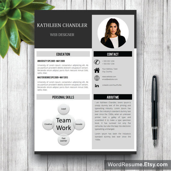 Clean Resume Template With Photo + Cover Letter / CV Template Word,  Professional, Creative  Creative Resume Template Word