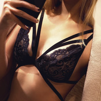 Sexy Lace Shirt Solid Color Fashion Bralette Woman Comfortable Bra [9639930435]