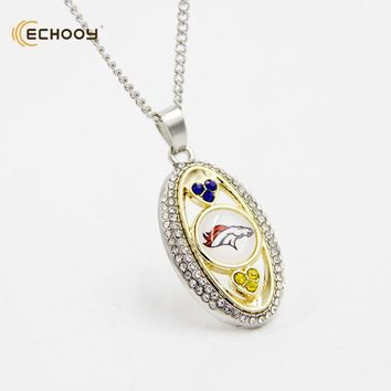 woman classic jewelry Personalized Denver Broncos Pendant Necklaces Custom football team logo necklace Bridesmaid Gift
