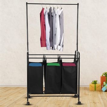 Durable Three Removable Bags Laundry Sorter Cart with Clothes Rack