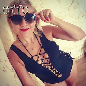 UTTU Sexy String Hollow Out One Piece Swimsuit Women Strappy Halter Solid White Swimwear Beach Mesh Body Suit Red Bathing Suit