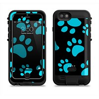 The Black & Turquoise Paw Print Apple iPhone 6/6s LifeProof Fre POWER Case Skin Set