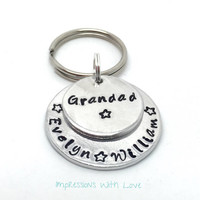 Grandad Gift - Grandpa - Hand Stamped keychain / keyring - Father's Day - Gift for Him - Personalized