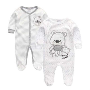 Summer 2017 Newborn Baby Girl Boy Clothes Baby Rompers Long Sleeve Cotton Sleepwear Pajamas Infant clothing 0-12 Months
