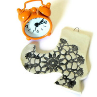 Lace Boot Ceramic Ornament Winter Decoration Flower Lace Black and White Pottery