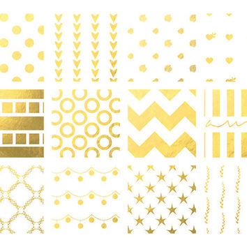 Gold Digital Clip Art Pattern Digital Papers White Lights Printable Background Wedding Invitations Blogs Golden Patterns Pack