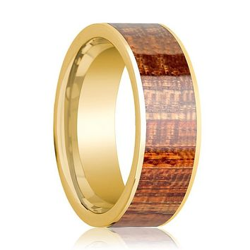 Mens Wedding Ring Polished 14k Yellow Gold Flat Wedding Band with Mahogany Wood Inlay - 8mm