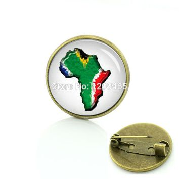 Supernatural winter style brooches South African flag art picture pin Interesting South Africa ball  badge C 1442