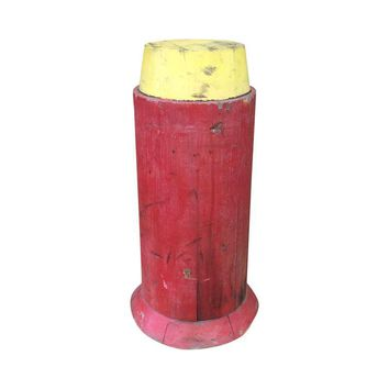 Pre-owned Red & Yellow Wooden Foundry Mold Pedestal