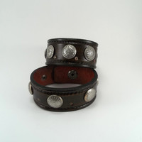 Couples Leather Bracelet with Conchos, Men and Women Wristband, Leather Cuff, Brown,