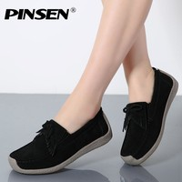 PINSEN Autumn Women Flats Leather Suede Slip on Fringe Loafers Shoes Ballet Flats Cowhide Flexible Boat Oxford Shoes creepers