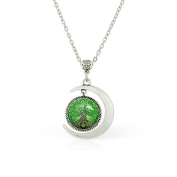 Moon pendant Moon jewelry Celtic Tree Of Life necklace Tree Of Life pendant necklace Tree Of Life jewelry Tree necklace Tree pendant Tree jewelry Art Tree Handmade Jewelry Fashion women necklace Green pendant gift for women