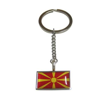 Thin Bordered Macedonia Flag Pendant Keychain