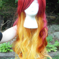 Red Orange Wig, Ombre Wig, Fade Wig, Lord Solaris, Fire Wig, Mixed Color Wig, Long, Wavy,  Heat safe, flowing, bangs, curl,