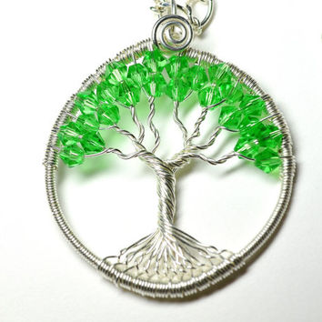 Wire Wrapped Tree of Life Pendant Necklace Green and Silver Artisan Pendant on Crystal Wrapped Chain With Earrings Tree Necklace Set