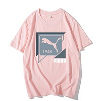 PUMA Fashion New Letter Print Women Men Leisure Top T-Shirt Pink