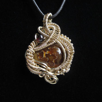 Wire Wrap Pendant in Gold Filled Wire with Ammonite