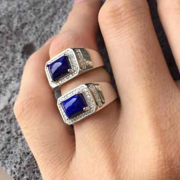 Natural Square Lapis Lazuli Stone Solid Silver 925 Rings Men Cuff Band Natural Blue Stone Real 925 Sterling Silver Jewelry Male