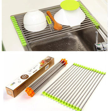 Stainless Steel Roll Draining Rack - Multifunctional Drain Shelf