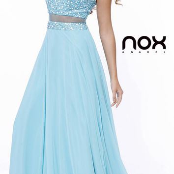 Two Piece Illusion Bodice Long Prom Dress Aqua Chiffon