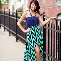 After Midnight Dress in Navy and Teal