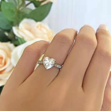 2 ctw Heart Solitaire Ring, Accented Ring, Engagement Ring, Half Eternity Wedding Ring, Man Made Diamond Simulants, Sterling Silver