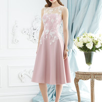 Dessy Collection 2947 Tea Length Lace Bridesmaid Dress