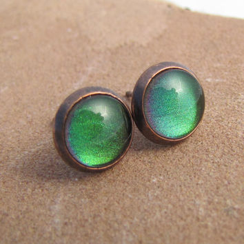 Green Small Stud Earrings - Emerald City and Antiqued Copper