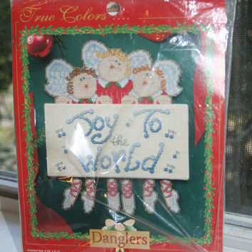 """CLEARANCE Christmas Cross Stitch Kit Joy to the World Angel """"Danglers"""" Dimensional Sign Kit"""