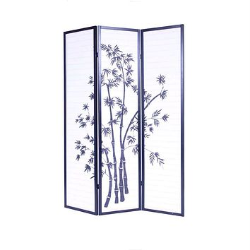 3-Panel Asian Shoji Screen Room Divider with Bamboo Print