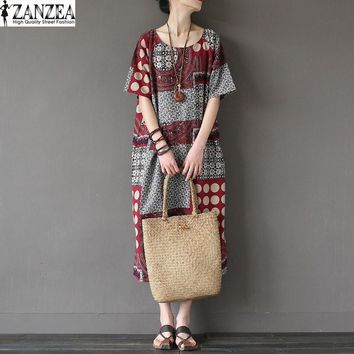 2017 ZANZEA Vintage Summer Women Floral Print Short Sleeve O Neck Cotton Linen Pacthwork Dress Casual Mid Calf Vestido Plus Size