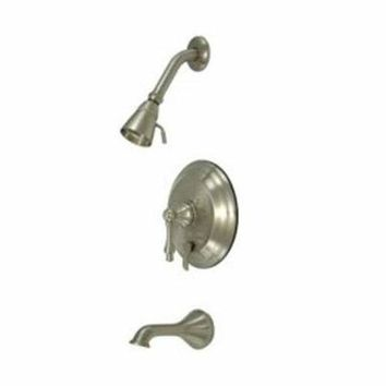 CREYONV elements of design eb36380al new orleans satin nickel pressure balanced tub and shower faucet with metal lever