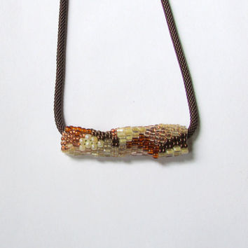 Rust Freeform Pendant - Copper Peyote Tube - Bronze Slide Necklace - Copper and Ivory Beaded Necklace - Beaded Freeform Peyote Necklace
