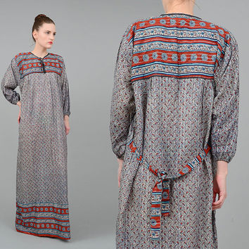 Vintage 70s Dress Cotton Gauze Maxi Dress Metallic Lurex Striped Dress India Ethnic Paisley Print Boho Hippie Caftan Medium Large M L