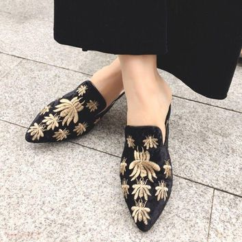 Women Pointy Toe Slingback Embroidery Bee Fashion Pumps Shoes Slipper Spring Hot