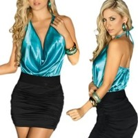 Sexy Two-Tone Black and Blue Cowl Neck Halter Dress:Amazon:Clothing