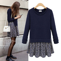 Knitted Floral Sweater Skirt