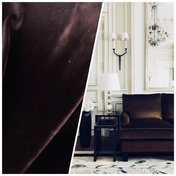 Designer Heavy Weight Velvet Upholstery Fabric- Chocolate Brown By The Yard